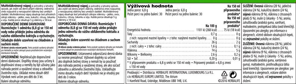 Herbalife Multivlakninovy Napoj-nutričné hodnoty