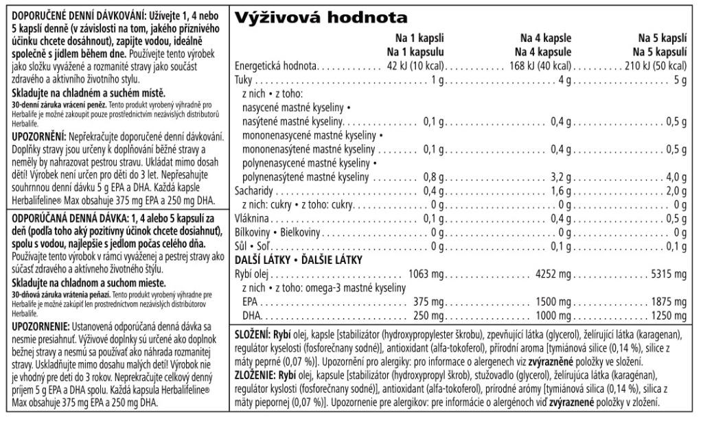 Herbalifeline max - produktový štítok a nutríčné hodnoty